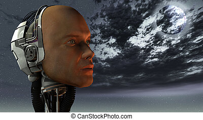 android, cybernetic intelligence machine in 3d