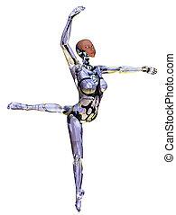 Android Dancer - 3D Render of an android ballet dancer