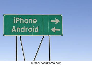 android, eller, iphone, vägmärke