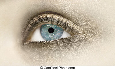 Android eyes - A closeup of an eye with a circuit board in...
