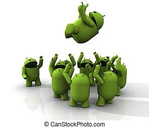android, feiern, 3d