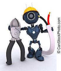 android, fio, construtor, cortadores