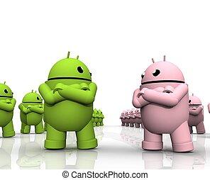 android, fricção, 3d