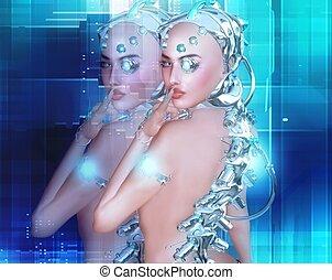 Android girl, part robot part human