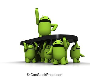 android, gruppe, 3d