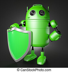 Android guard with shield. Technology protection cocept