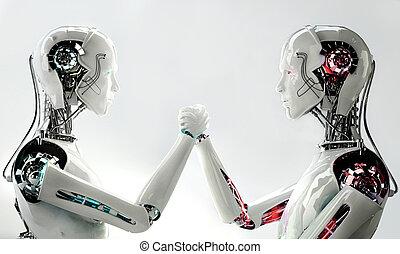 android, homens, robô, competição