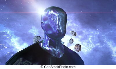 """""""Android human and asteroids in the space"""" - """"A sci-fi 3d..."""