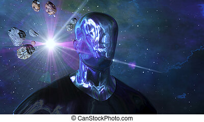 Android human in the open cosmos - A futuristic 3d ...