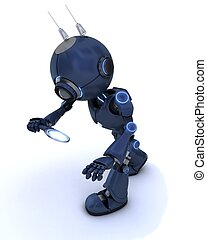 Android inspecting with a magnifying glass - 3D Render of an...