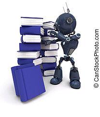 android, livros, pilha