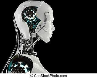 android, män, robot