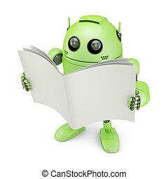 android, met, leeg boek