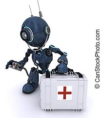 Android paramedic with first aid kit - 3D Render of an...