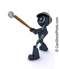 Android playing baseball - 3D Render of an Android playing...