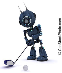 Android playing golf - 3D Render of an Android playing golf