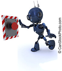 Android pushing a button - 3D Render of an Android pushing a...