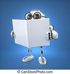 android, robot, czytanie książka