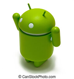 Android robot with his arms up, celebrating victory