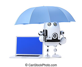 Android robot with laptop and umbrella. Security concept. Isolated. Contains clipping path of entire scene and laptop screen