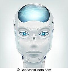 android., roboter, freigestellt, hintergrund., vektor, weißes gesicht