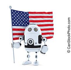 android, roboter, mit, stehende , amerikanische markierung