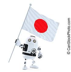 android, roboter, stehende , mit, fahne, von, japan