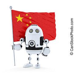 android, roboter, stehende , mit, fahne, von, porzellan