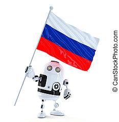 android, roboter, stehende , mit, fahne, von, russia.