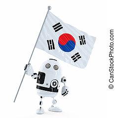 android, roboter, stehende , mit, fahne, von, südkorea