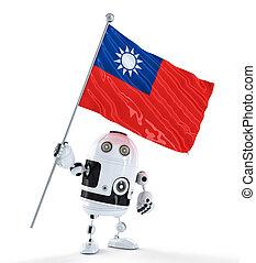 android, roboter, stehende , mit, fahne, von, taiwan., freigestellt, aus, weißes