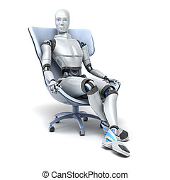 Android sits in a chair isolated on white. Clipping path ...
