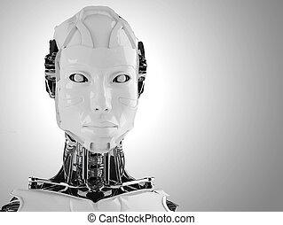 android, vrouwen, vrijstaand, robot