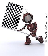 Android waving checkered flag