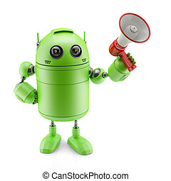 Android with a megaphone