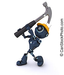 Android with hammer - 3D Render of an Android with hammer