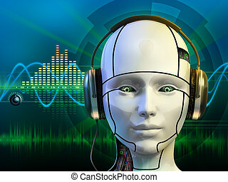 Android with headphones - Android head wearing some ...