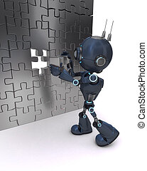 Android with jigsaw puzzle - 3D Render of an Android with...