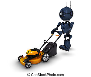 Android with lawn mower - 3D Render of an Android with lawn...