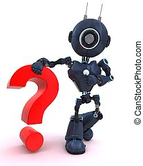 Android with question mark symbol - 3D Render of an Android...