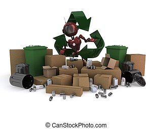Android with recycling waste
