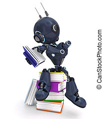 Android with stack of books
