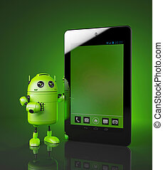 Android with tablet pc. 3d illustration
