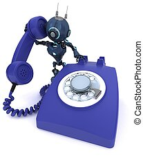 Android with telephone - 3D Render of an Android with...