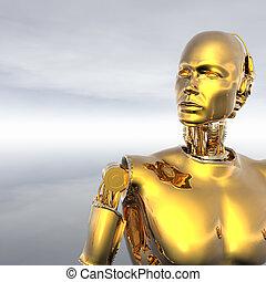 androide, cibernético, inteligencia, máquina