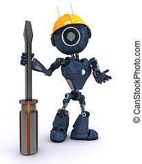 androide, constructor, con, un, destornillador