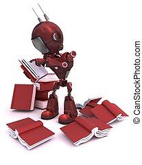 androide, libri, pila