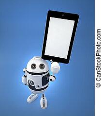 androide, robot, con, schermo vuoto, pc tavoletta