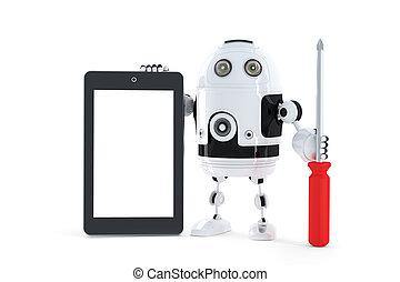 androide, robot, con, tableta, computadora