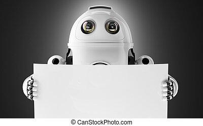 androide, robot, presa a terra, uno, vuoto, asse